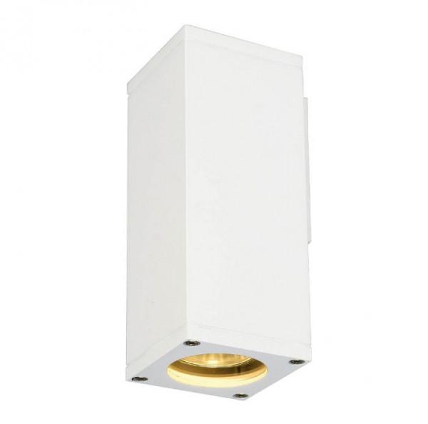 LED Fassadenstrahler in Oberfläche weiß, einseitig abstrahlend für austauschbare GU10 / QPAR51 LED- oder Halogen-Leuchtmittel