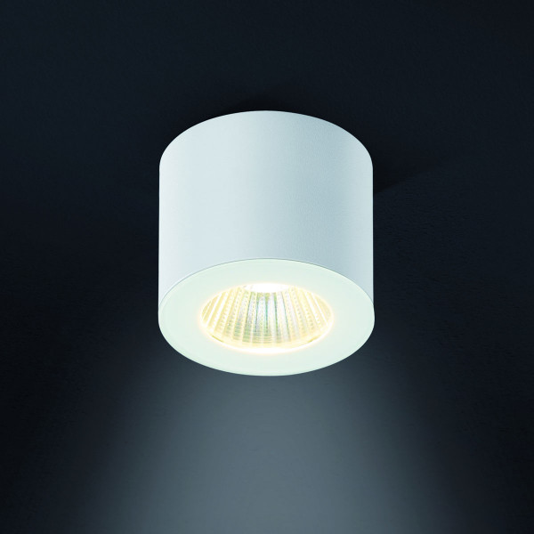 Dimmable LED surface mounted luminaire with glass cover and directed 40° beam - here the variant in surface finish white