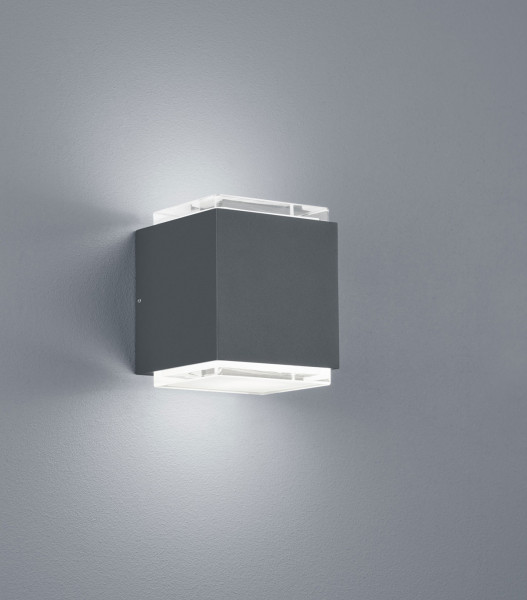 Very high quality LED wall / facade spotlight in graphite surface with glass cover, wide beam with 2x 725lm