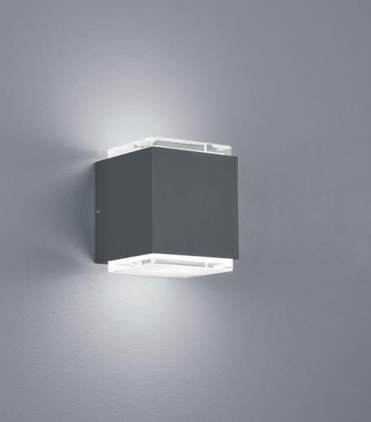 Sehr hochwertiger LED Wand- / Fassadenstrahler in Oberfläche graphit mit Glasabdeckung, breitstrahlend mit 2x 725lm