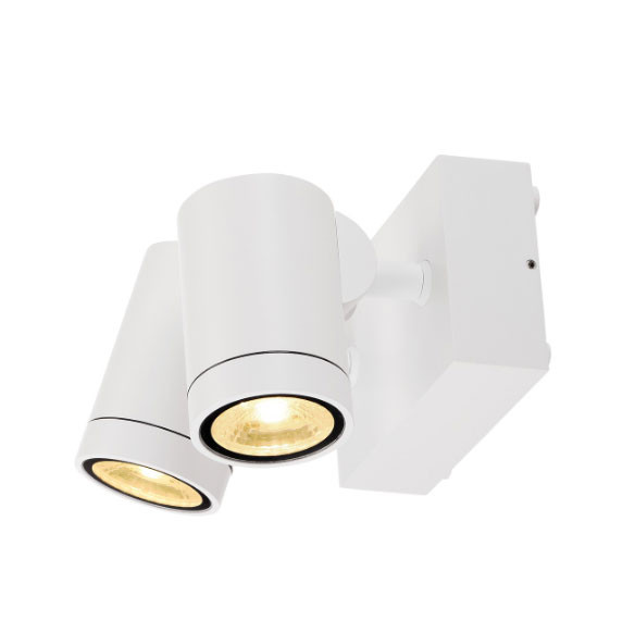 Swiveling and rotating wall and ceiling spotlights for outdoor applications in white surface with 2 lamp heads