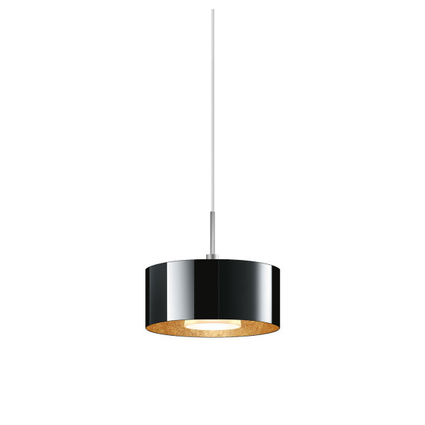 LED pendant lamp CANTARA glass 190 for the 230V track system DUOLARE from Bruck - here the version with glass outside black, inside gold leaf with the metal surface chrome matt