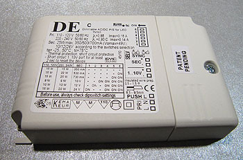 Multi-LED converter 350mA-700mA, dimmable by push button, 1-10V