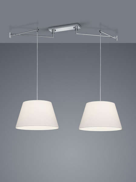 2-fold pendant lamp with fabric screens and swiveling arms - here the version with fabric shade chintz white type conical
