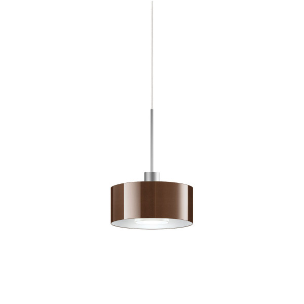 LED pendant lamp CANTARA glass 190 for the 230V track system DUOLARE from Bruck - here the version with glass outside bronze, inside white with the metal surface matt chrome