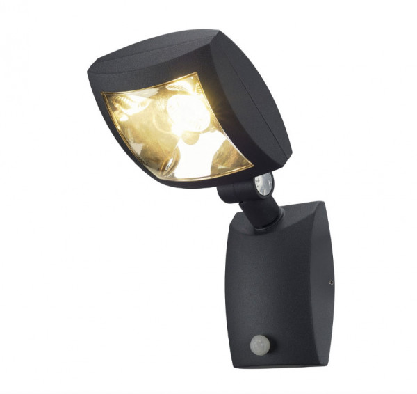 LED facade spotlight in anthracite surface with infrared motion sensor with adjustable response sensitivity