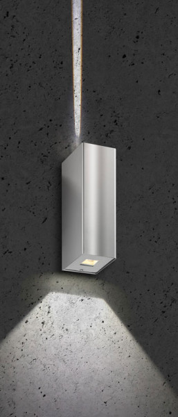 LED wall light made of stainless steel with double-sided radiation: 1x 10 and 1x 80 degrees