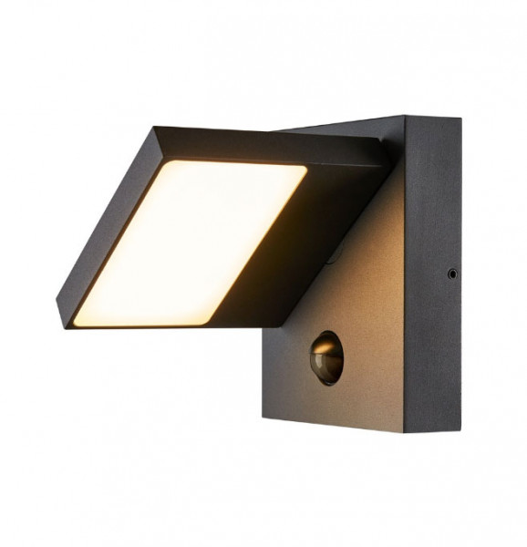 LED facade luminaire with built-in motion detector and selectable light color 3000K or 4000K to automatically switch on the light when movement is detected