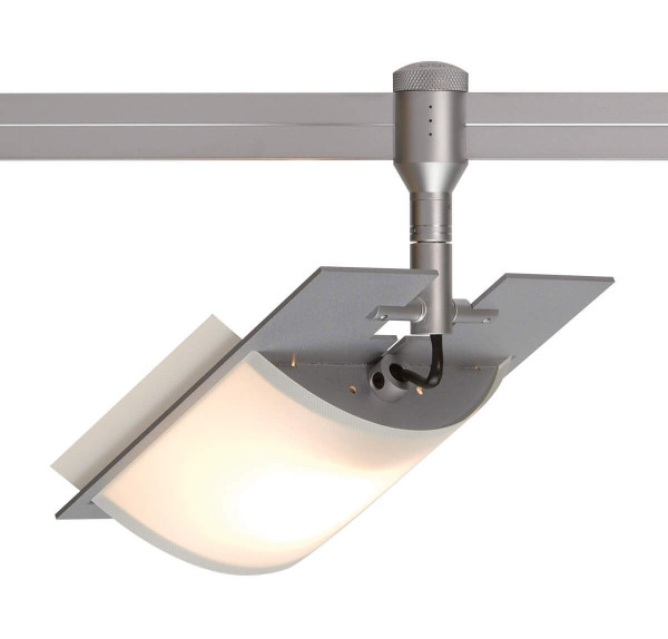 Lamp HIGH FLIGHT for the rail system CHECK IN by Oligo - here the variant with 40mm rod length in the surface matt chrome