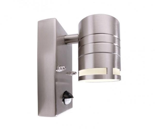 Fassadenstrahler in Edelstahl, einseitig abstrahlend für austauschbare GU10 / QPAR51 LED- oder Halogen-Leuchtmittel. Mit eingebautem Infrarot Bewegungsmelder / Sensor