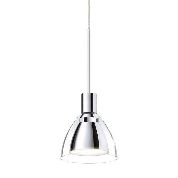 Pendant light JACK CANTO for the 230V track system DUOLARE from Bruck - here the variant with metal surface chrome