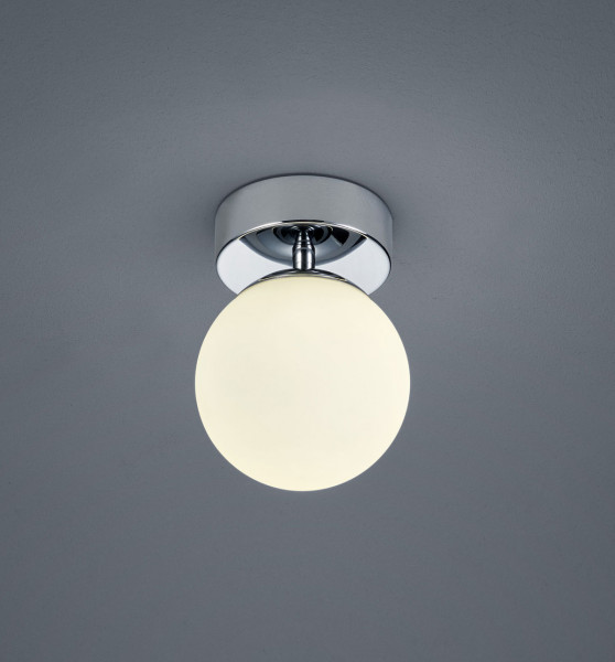 Spherical LED surface mounted luminaire with white glass. Thanks to protection class IP44 also very suitable for the bathroom and other wet rooms.