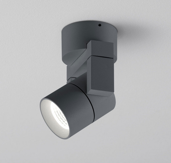 Swiveling wall and ceiling spotlight for outdoor applications in graphite surface