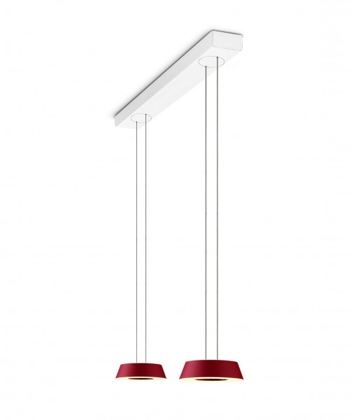 LED pendant luminaire GLANCE by Oligo with 2 luminaire heads - here the version with corpus cover matt white, heads surface matt red