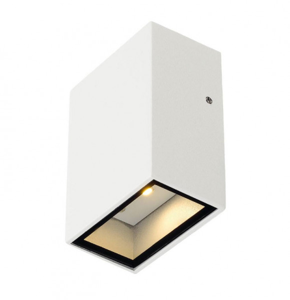 LED wall light with single-sided emission in white surface