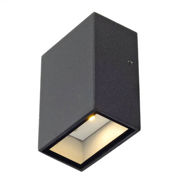 LED wall light with one-sided emission in anthracite surface