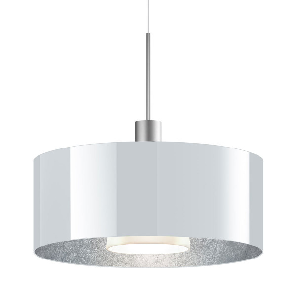 LED pendant light CANTARA glass 300 for the 230V track system DUOLARE from Bruck - here the version with glass outside white, inside silver leaf with the metal surface matt chrome