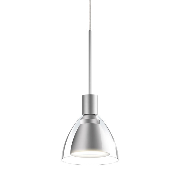 LED pendant light JACK CANTO for the 230V track system DUOLARE from Bruck - here the variant with metal surface matt chrome