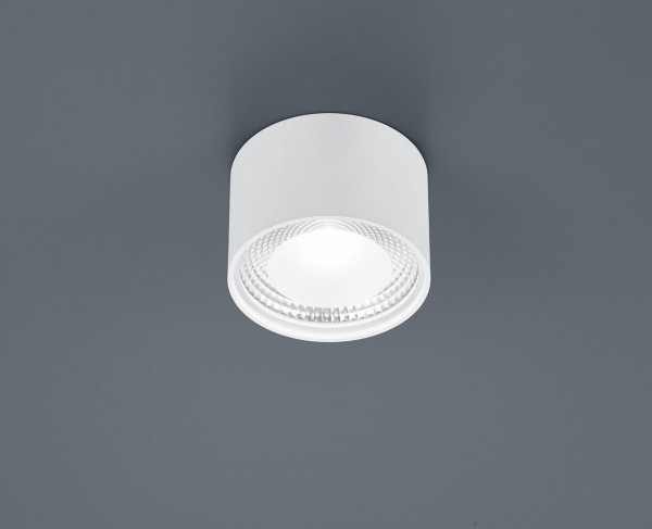 Round LED surface mounted luminaire with frosted glass pane - here in surface white