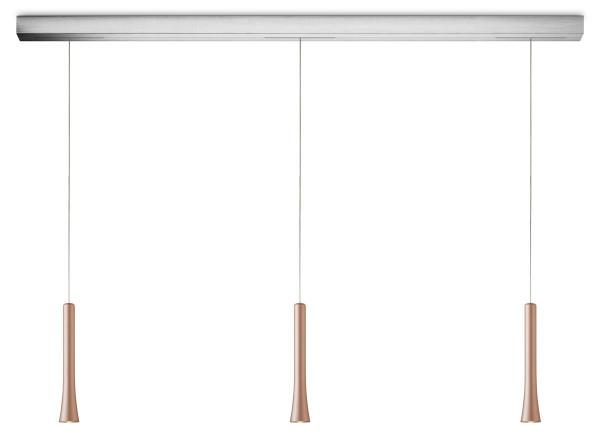 LED-Pendelleuchte von Oligo - hier die Variante mit Leuchtenkopf Satin copper