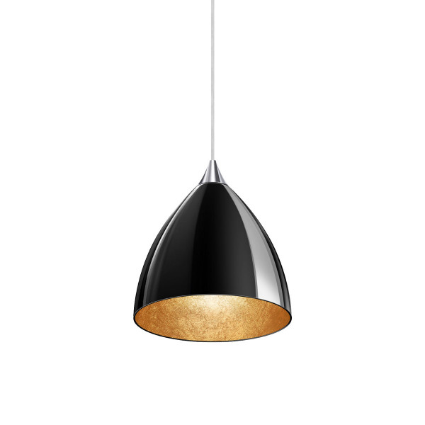 Pendant luminaire SILVA for the 230V track system DUOLARE from Bruck - here the variant with glass in black, inside coated with gold leaf, metal chrome