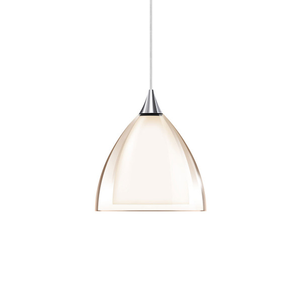 Pendant luminaire SILVA 160 for the 230V DUOLARE track system by Bruck - here the variant with glass outside smoke transparent, glass inside white, metal surface chrome