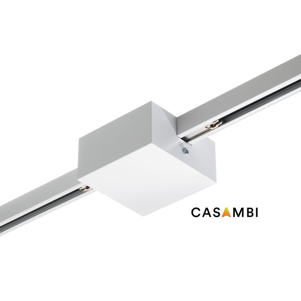 Center feed with 2 built-in CASAMBI radio modules for the 230V track system DUOLARE from Bruck - here the variant in surface white