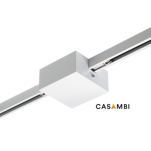 Mittel-Einspeisung mit 2 eingebauten CASAMBI-Funkmodulen für das 230V Schienensystem DUOLARE von Bruck - hier die Variante in Oberfläche weiß
