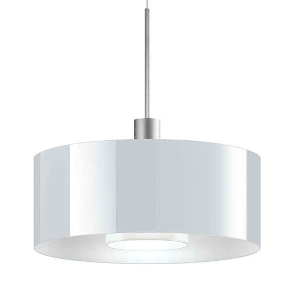 LED pendant light CANTARA glass 300 for the 230V track system DUOLARE from Bruck - here the variant with glass white, with the metal surface chrome matt