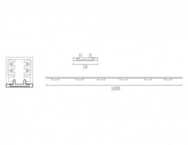 Schienen-Abdeckung für das 230V Schienensystem DUOLARE von Bruck