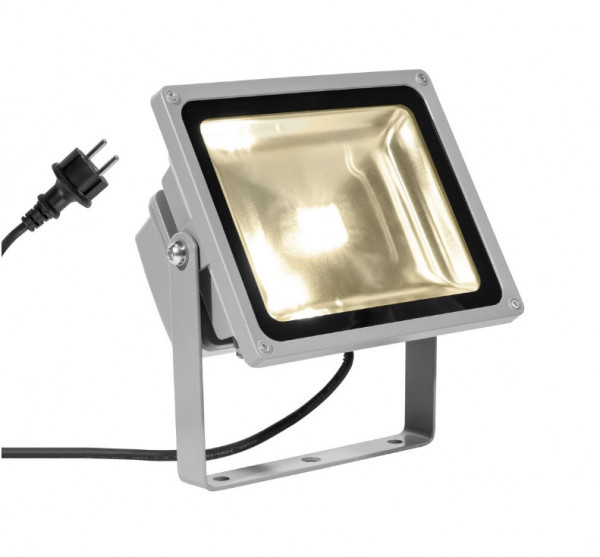 LED object or plant spotlight in gray surface with 2m supply cable and plug