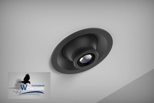 Schwenkbare LED Wand- / Deckeneinbauleuchte mit 15...60 Grad Abstrahlwinkel - hier die Variante in Oberfläche schwarz