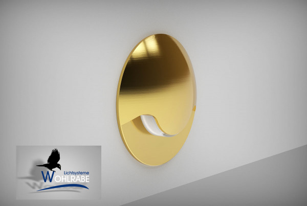 LED recessed wall luminaire with 120 degree radiation - here with gold surface