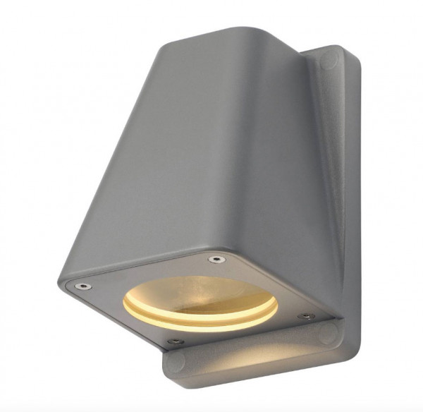 LED facade spotlight in gray surface, one-sided emission for interchangeable GU10 / QPAR51 LED or halogen lamps