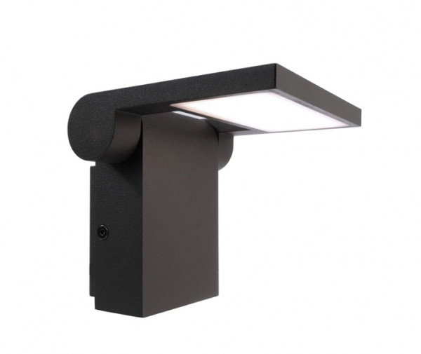 Swiveling wall spotlight for outdoor applications in anthracite surface