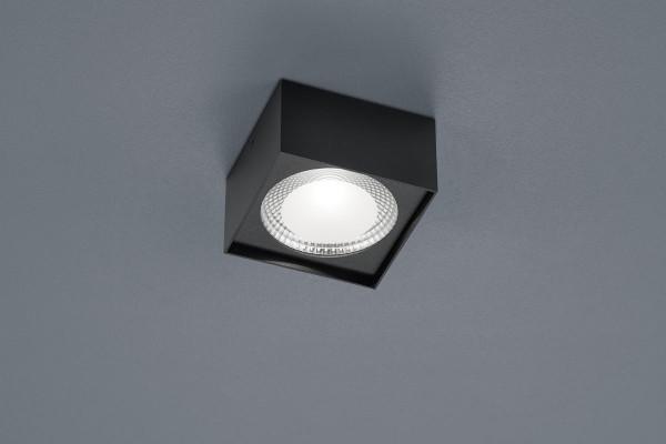 Quadratische LED-Aufbauleuchte mit mattierter Glasscheibe - hier in Oberfläche schwarz
