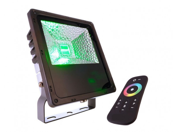 RGB color spotlight with remote control for the colored illumination of facades, objects or plants
