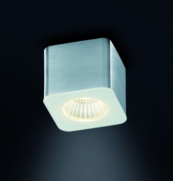 Dimmable LED surface mounted luminaire with glass cover and directed 40° beam - here the variant in surface aluminum matt