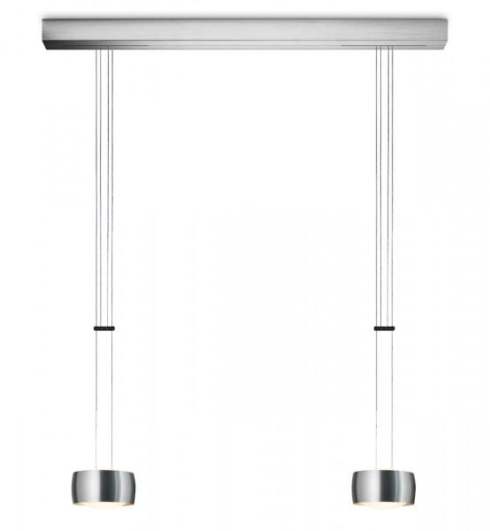 LED pendant luminaire GRACE with luminaire head version brushed aluminum