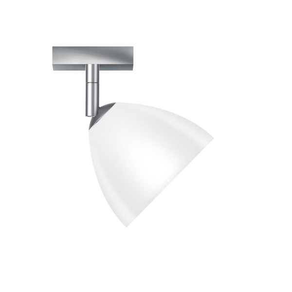 Spotlight SILVA by Bruck with white glass for retrofit lamps - here the version with metal surface matt chrome