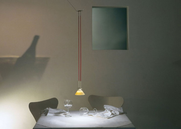 Luminaire ELEMENT 4 with porcelain shade from the YaYaHo cable system by Ingo Maurer