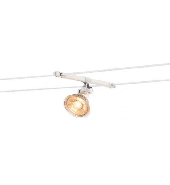 Seilsystem-Leuchte MARS für 15.5cm Seilabstand. Wir liefern diese Leuchte wahlweise in den Oberflächen weiss, schwarz oder chrom