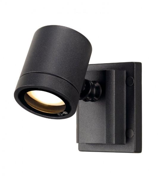 LED Decken- und Fassadenstrahler in Oberfläche anthrazit, einseitig abstrahlend für austauschbare GU10 LED- oder Halogen-Leuchtmittel