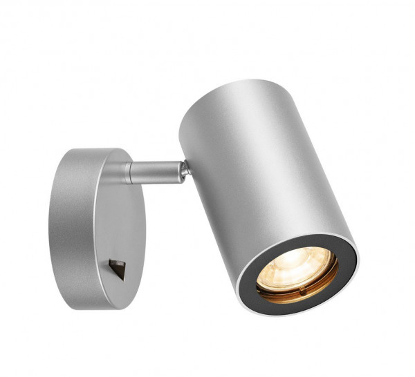 Reading light with rotating and swiveling head for retrofit bulbs - here the variant in surface gray