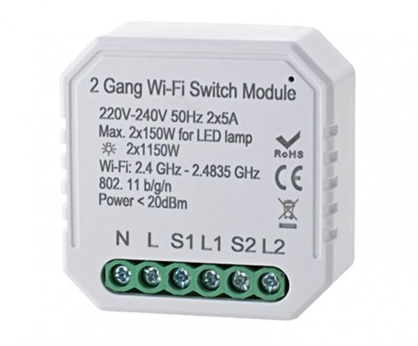 WIFI Schalter für Unterputzdosen, ein Kanal - Bild zeigt beispielhaft Version mit 2 Kanälen