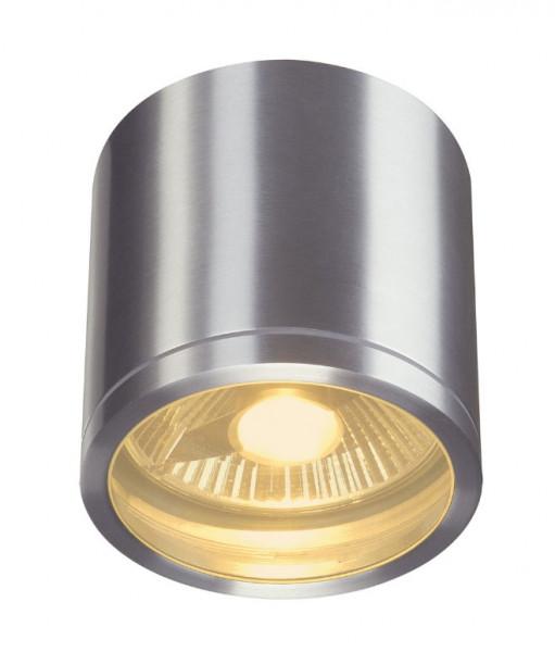 LED Deckenleuchte mit direkter Abstrahlung, Leuchtenkörper aus gebürstetem Aluminium. Für auswechselbare QPAR111 Retrofit Leuchtmittel
