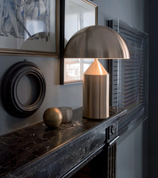 Table lamp Atollo by Oluce - here the version made of metal with a gold satin finish