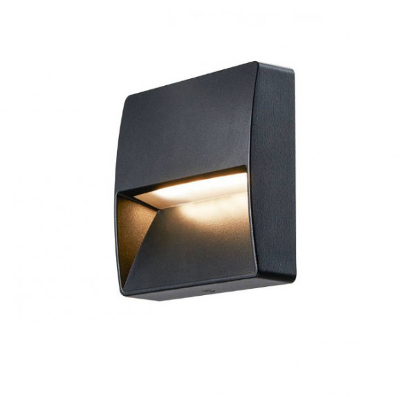 LED wall light with one-sided radiation in anthracite surface and adjustable light color 3000K or 4000K