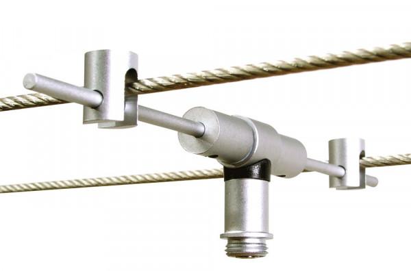 PLUG-IN Adapter für die Steckkontakt-Leuchten von Oligo zum Befestigen am Seilsystem LIGHT LINE. Lieferbar wahlweise in Oberfläche chrom oder chrom matt