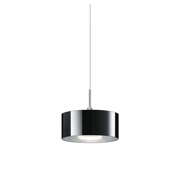 Pendant lamp CANTARA for the 230V track system DUOLARE from Bruck - here the variant with glass black, inside coated with silver leaf, metal surface chrome